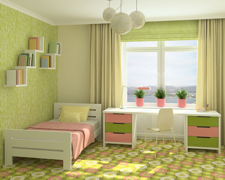 bedroom furniture: Colorful interior of playroom. 3d render. Photo behind the window was made by me.