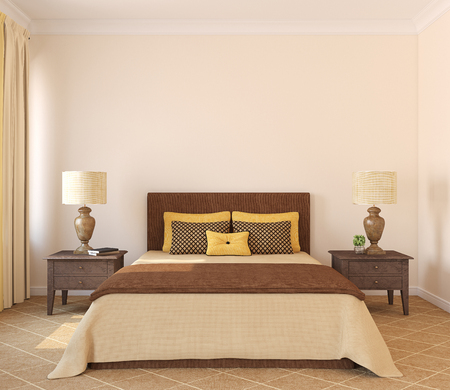 Modern bedroom interior. Frontal view. 3d render. Stock Photo