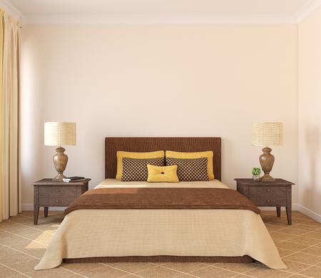 Modern bedroom interior. Frontal view. 3d render. Standard-Bild