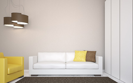 sofa furniture: Interior with modern couch near empty wall. Frontal view. 3d render.