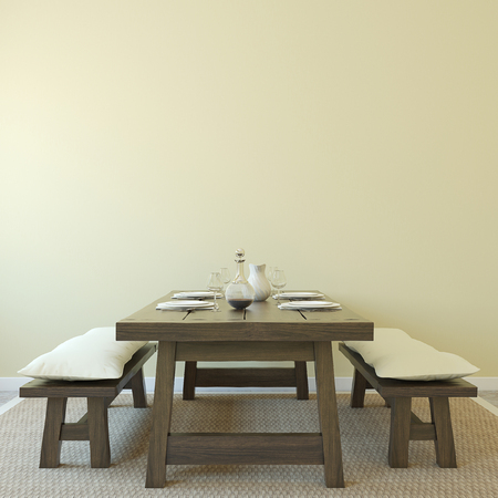 diningroom: Dining-room interior. Country style. 3d render.