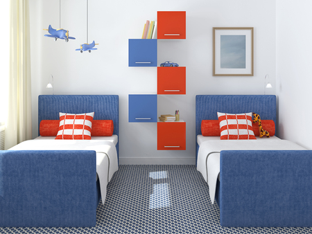 Interior of playroom for two children. 3d render.