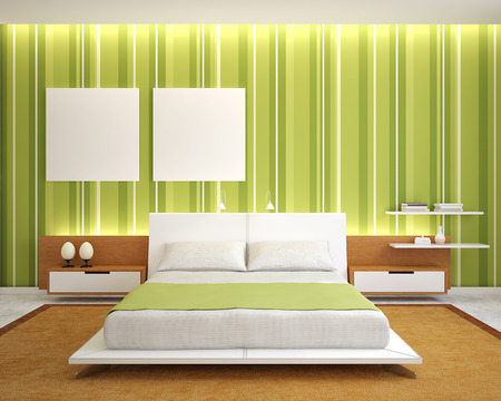 bedroom interior: Modern bedroom interior with green walls and king-size bed. 3d render. Stock Photo