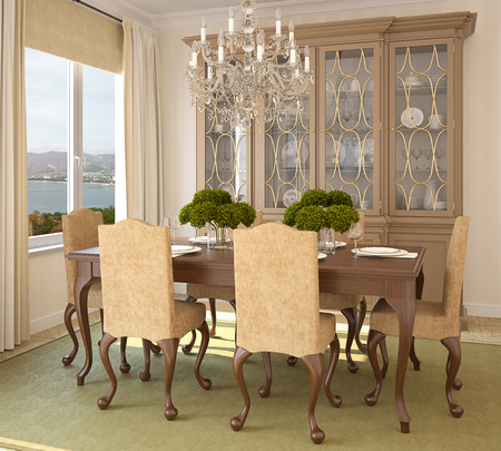 diningroom: Classic dining-room interior. 3d render. Photo behind the window was made by me.