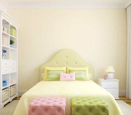 bedrooms: Colorful bedroom  interior for girl. Frontal view. 3d render. Stock Photo