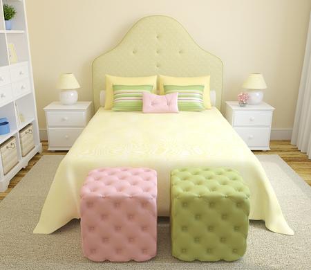 chambre à coucher: intérieur de la chambre colorée pour fille. 3d render. Banque d'images