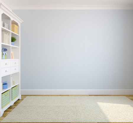 Modern interior with bookcase near blue empty wall.3d render.