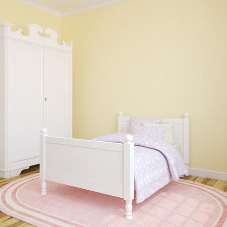 bedroom bed: Bedroom interior for girl. 3d render.