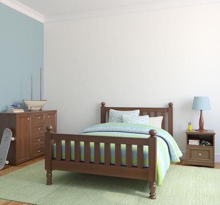 Bedroom for boy. 3d render.