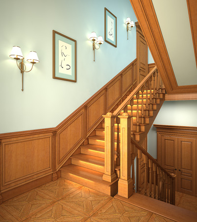 sconces: Wood stairs in the modern house. 3d interior.