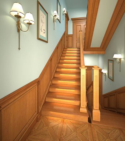 sconce: Wood stairs in the modern house. 3d interior.
