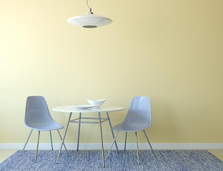 silla: Interior de la cocina con una mesa y dos sillas de color azul cerca de la pared amarilla vac�a. 3d.
