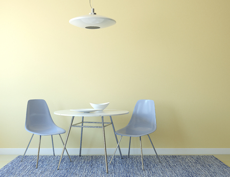chairs: Kitchen interior with table and two blue chairs near empty yellow wall. 3d render. Stock Photo