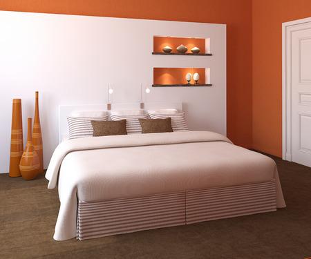 kingsize: Modern bedroom interior with orange walls and king-size bed. 3d render.
