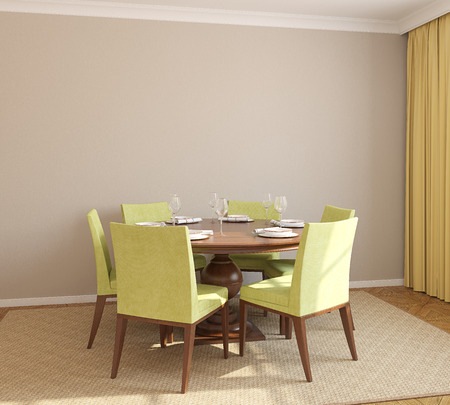 interior wall: Dining-room interior with round table and six green chairs. 3d render.
