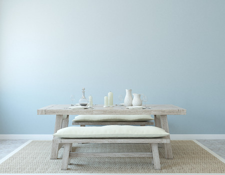 bench: Dining-room interior. Country style. 3d render.