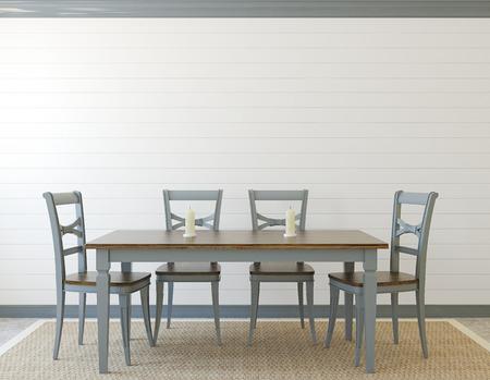 interior room: Dining-room interior. Provence. 3d render.