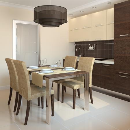 Modern kitchen interior. 3d render.