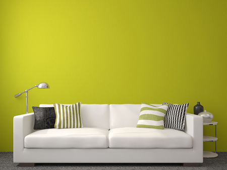 green couch: Modern living-room interior with white couch near empty green wall. 3d render.