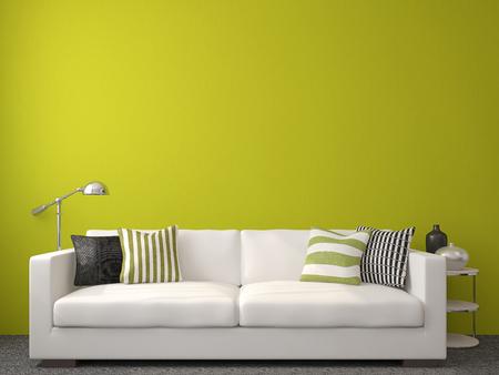 Moderne woonkamer inter met witte bank in de buurt van lege groene muur. 3d render.