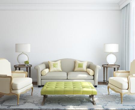 pokoj: Moderní obývací pokoj interiér. 3d render.