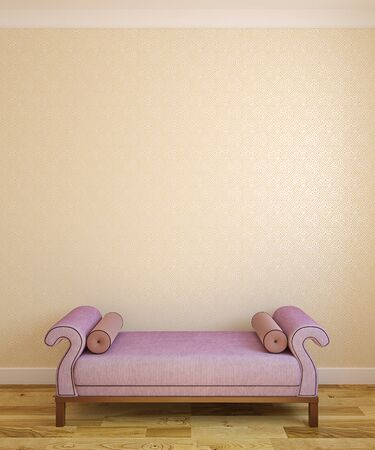 footstool: Interior with violet ottoman near empty wall. 3d render. Stock Photo