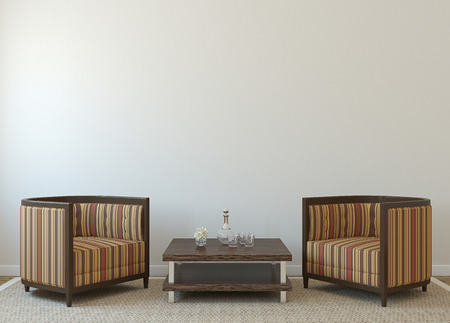Modern interior with two armchairs near empty white wall. 3d render. 版權商用圖片