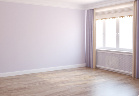 3d bedroom: Interior of empty room with window. 3d render.