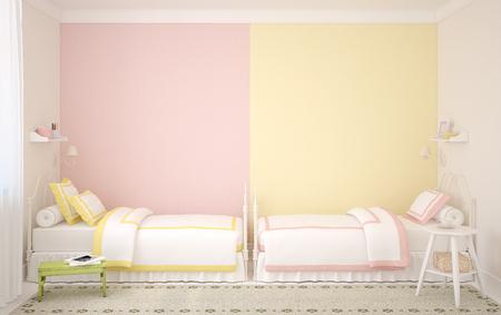 gemelas: Interior del cuarto de niños para dos niños. 3d.