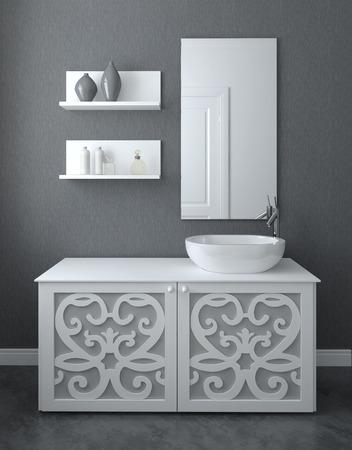 현대적인 욕실 인테리어입니다. 3D 렌더링합니다.