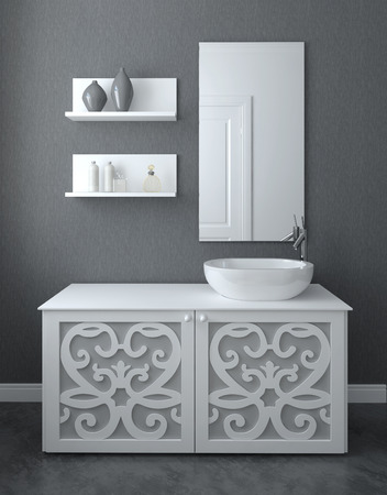 apartment interior: Modern bathroom interior. 3d render.