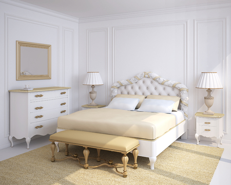 Classical white bedroom interior. 3d render.