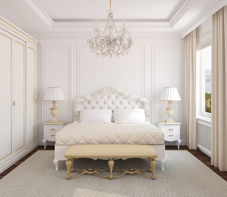 bedroom: Classical white bedroom interior. 3d render. Photo behind the window was made by me. Stock Photo