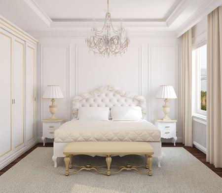 chambre � coucher: Int�rieur de la chambre blanche classique. 3d render. Photo derri�re la fen�tre a �t� faite par moi. Banque d'images