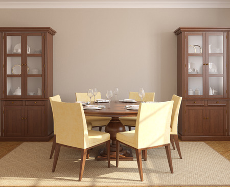 Dining-room interior with round table and six yellow chairs. 3d render.