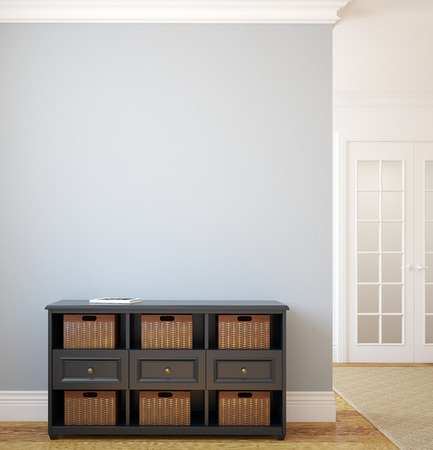 grey rug: Modern hallway. 3d render. Stock Photo