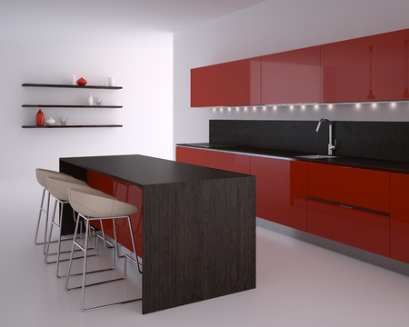 wooden furniture: Interior of modern kitchen. 3d render.