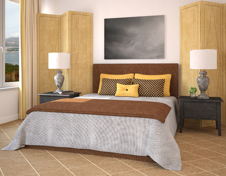 bedroom design: Modern bedroom interior. 3d render. Photo behind thee window was made by me.