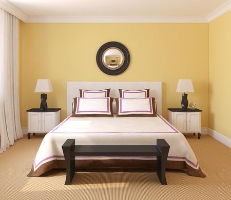kingsize: Beautiful bedroom interior. 3d render.