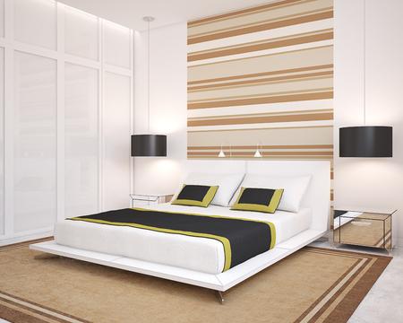 chambre à coucher: Intérieur de la chambre moderne. 3d render.