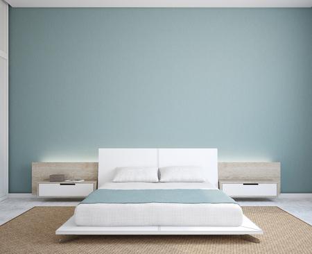 azul turqueza: Interior del dormitorio moderno. Minimalismo. 3d.