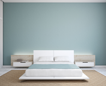 rugs: Modern bedroom interior. Minimalism. 3d render.