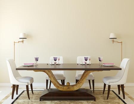 Modern dining-room interior.3d render. Reklamní fotografie - 45647964
