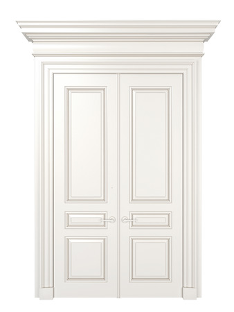 white door: White classic closed door isolated on white background.