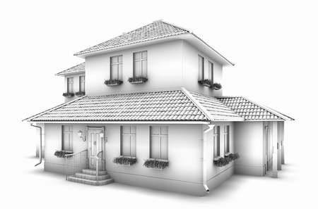 3d model of the house. Sketch. Stock Photo