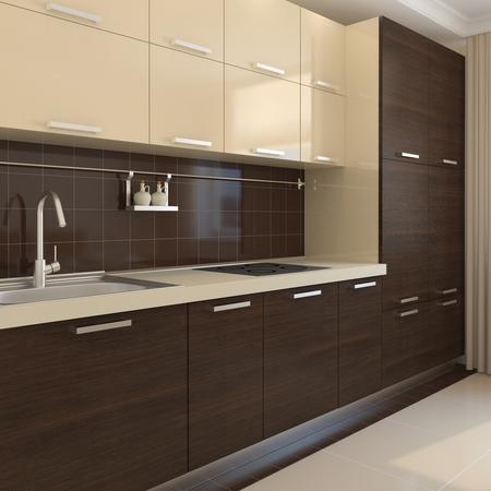 cucina moderna: Modern kitchen interior. Rendering 3D. Archivio Fotografico