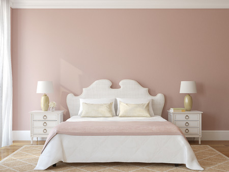 3d bedroom: Bedroom interior. Provence. 3d render.
