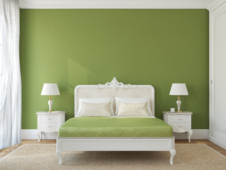 Classical bedroom interior. 3d render. 版權商用圖片