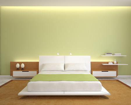 녹색 벽과 킹 사이즈 침대와 현대 침실 인테리어입니다. 3d 렌더링입니다. 스톡 콘텐츠