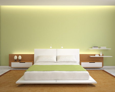 cama: Interior del dormitorio moderno con las paredes verdes y cama extra grande. 3d.